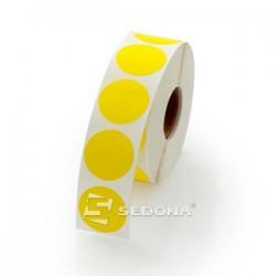 17mm Round Yellow Sticker Gloss Label Rolls Thermal Transfer