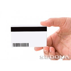 White plastic card with magnetic stripe
