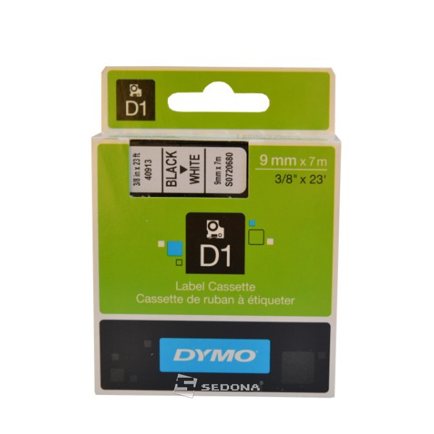Tape Dymo D1 9mm x 7m, black on white