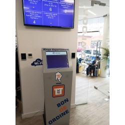 "Queue management system with 19 ""kiosk and printer"